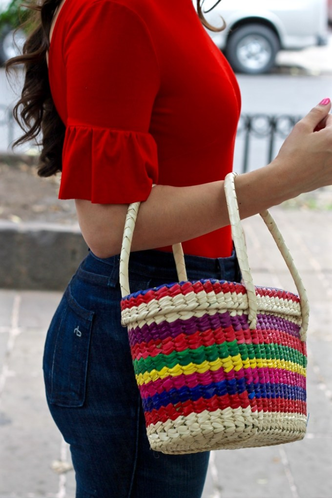 La Mariposa Mexico City Style: Red Bodysuit and rainbow straw tote