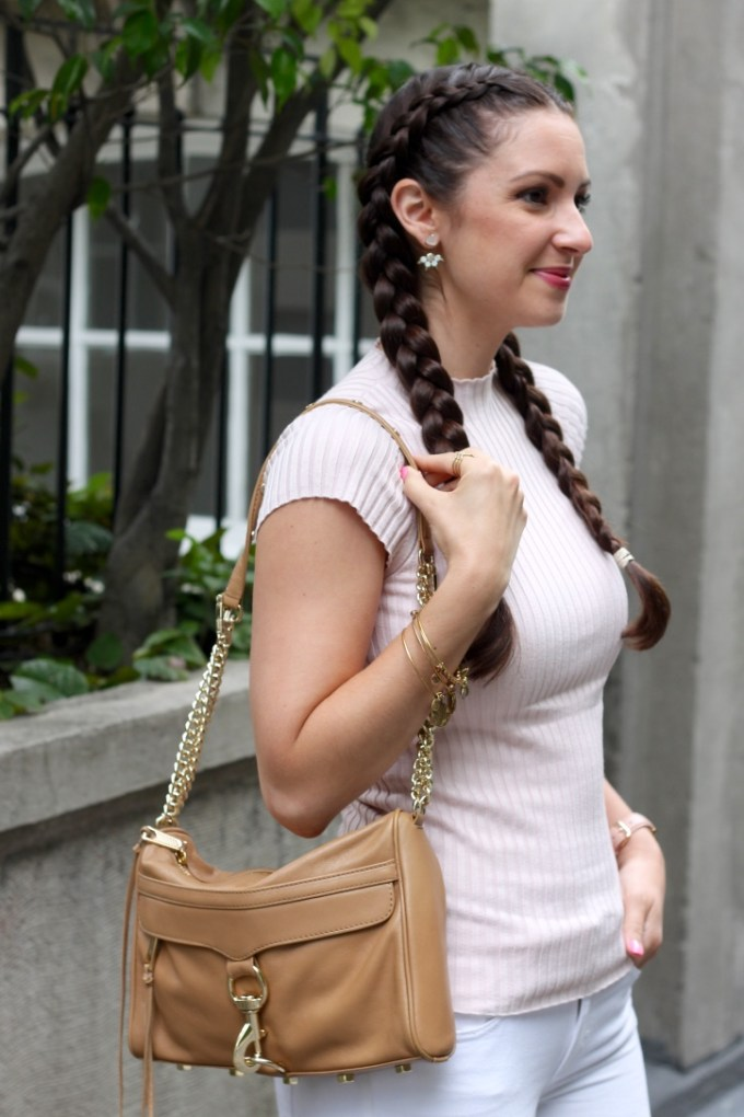 Express Vintage Pink Ribbed Cap Sleeve Sweater, Dutch Braids