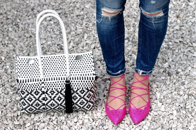 Mexican Woven Black & White Market Tote, J.Crew Neon Pink Eyelet Lace-up Flats