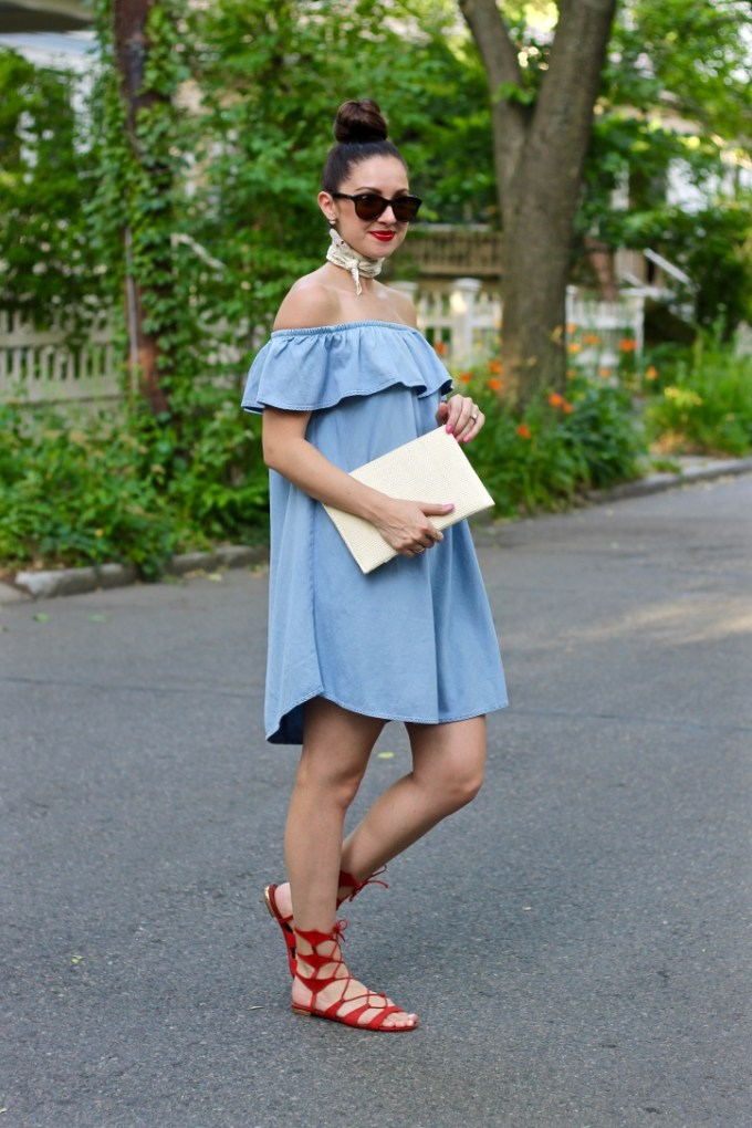 La Mariposa Summer Dress: Express Off the Shoulder Ruffled Denim Dress