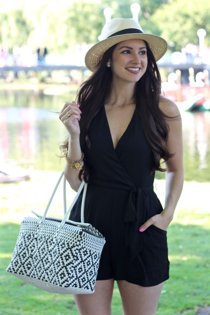 Express Black Surplice Front Halter Romper, La Mariposa Summer Style at Boston Commons, Plastic Woven Mexico Market Bag, Straw Fedora