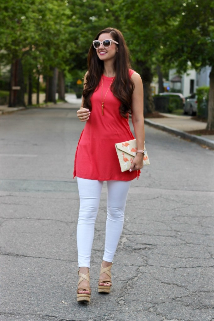La Mariposa Blog: Coral side fringe tunic, Charming Charlie side fringe tank, coral tunic, cute summer tunic outfit