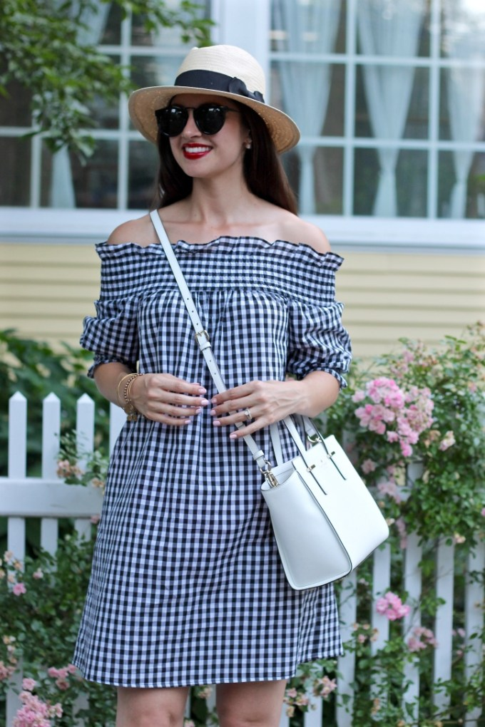 La Mariposa: Off-the-shoulder gingham plaid dress, summer plaid dress, summer gingham dress, gingham, kate spade white crossbody bag