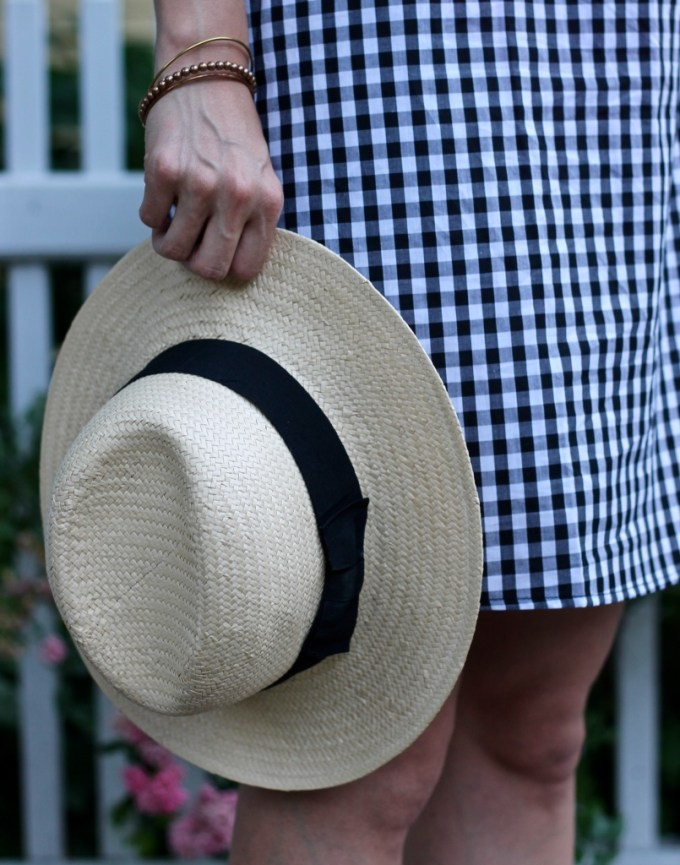 straw panama hat and gingham