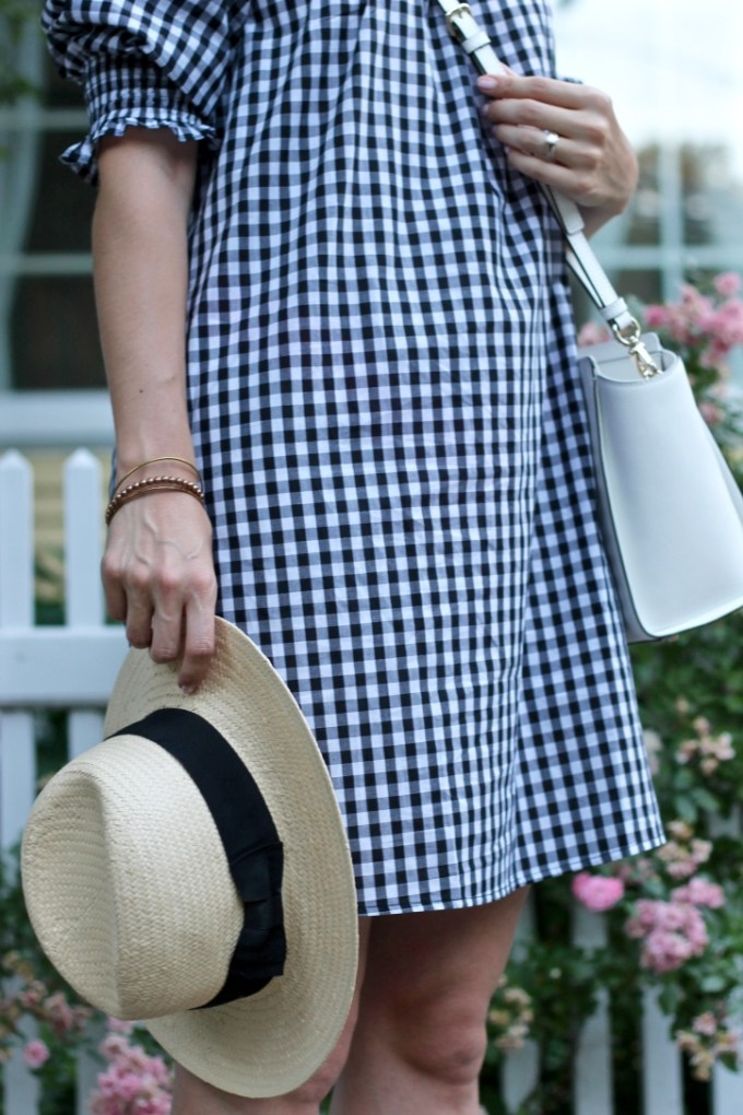 La Mariposa: Off-the-shoulder gingham plaid dress, summer plaid dress, summer gingham dress, gingham, kate spade white crossbody bag, straw panama hat