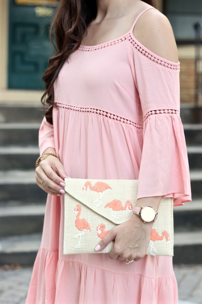Dusty Pink Cold Shoulder Crochet Eyelet Dress, Cold Shoulder Summer Dress, Flamingo Straw Clutch