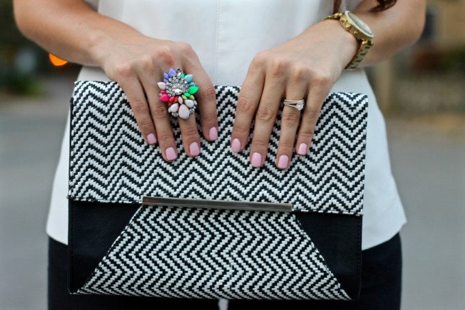 Express Chevron Black & White Clutch