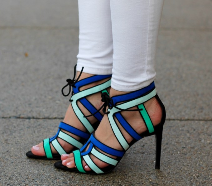 La Mariposa, Strappy Zara Heels, Blue Strappy Colorful Heels