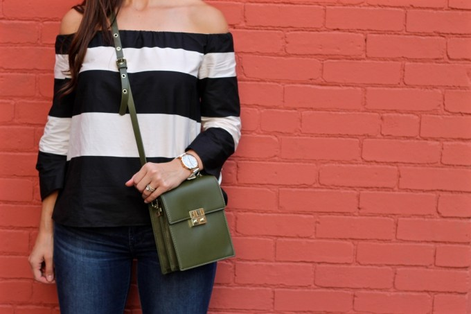 La Mariposa Blog, Boston Fashion Blog, Striped Off the Shoulder Shirt, Kristen Kylie Cosmetics Lipkit, Red Matte Lipstick, Olive Green Purse, White Marbled Christian Paul Watch