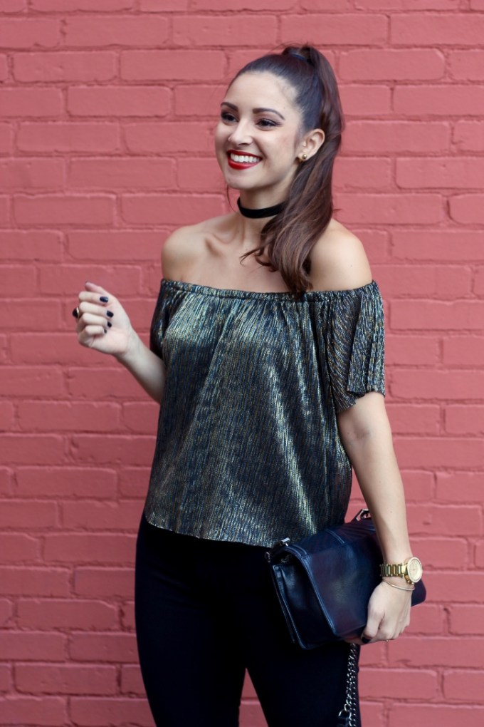 Metallic Off the shoulder Zara top