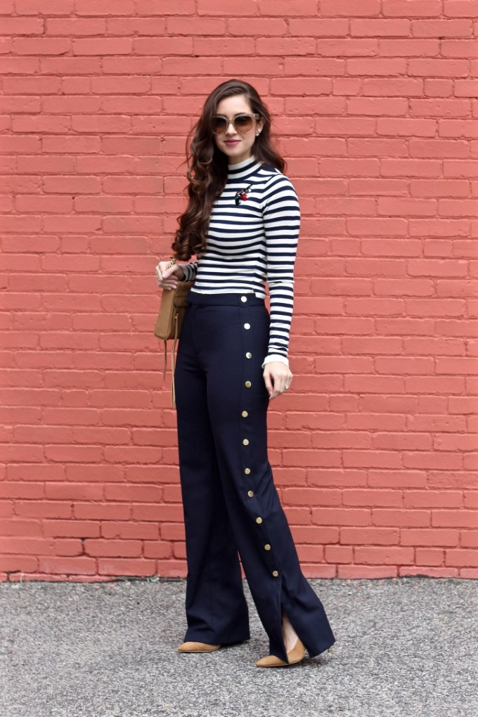 Zara Trousers with Golden Side Buttons, Striped Navy and White crop top, trendy work outfit