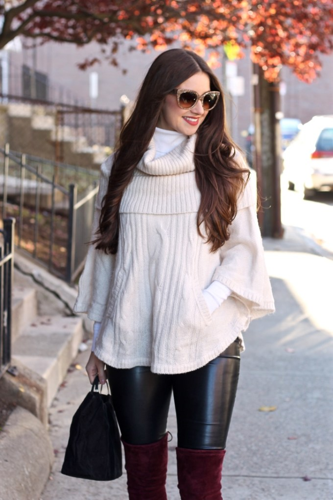 Fall Outfit Idea: Cream Poncho with Leather Pants