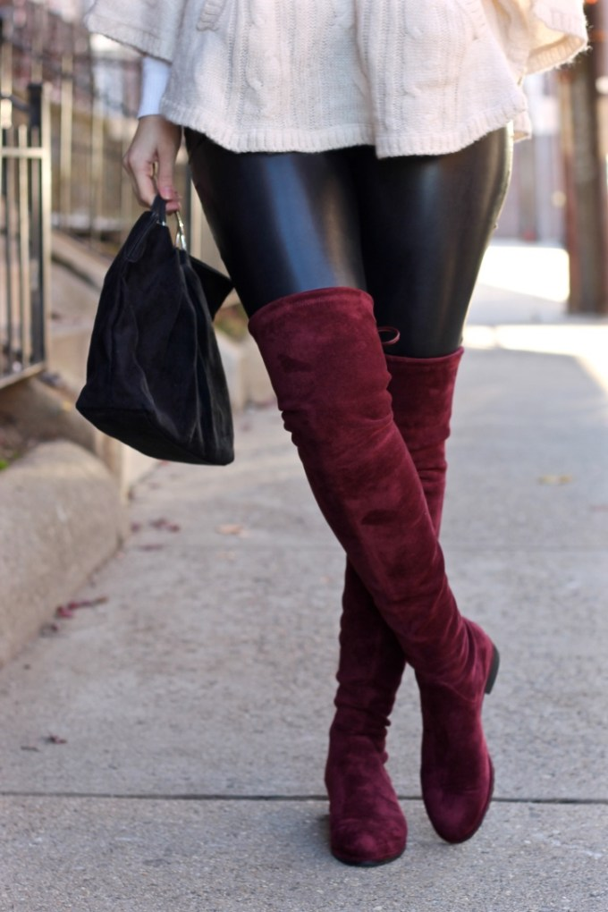 Kaitlyn Pan Burgundy Red Over-the-knee suede boot