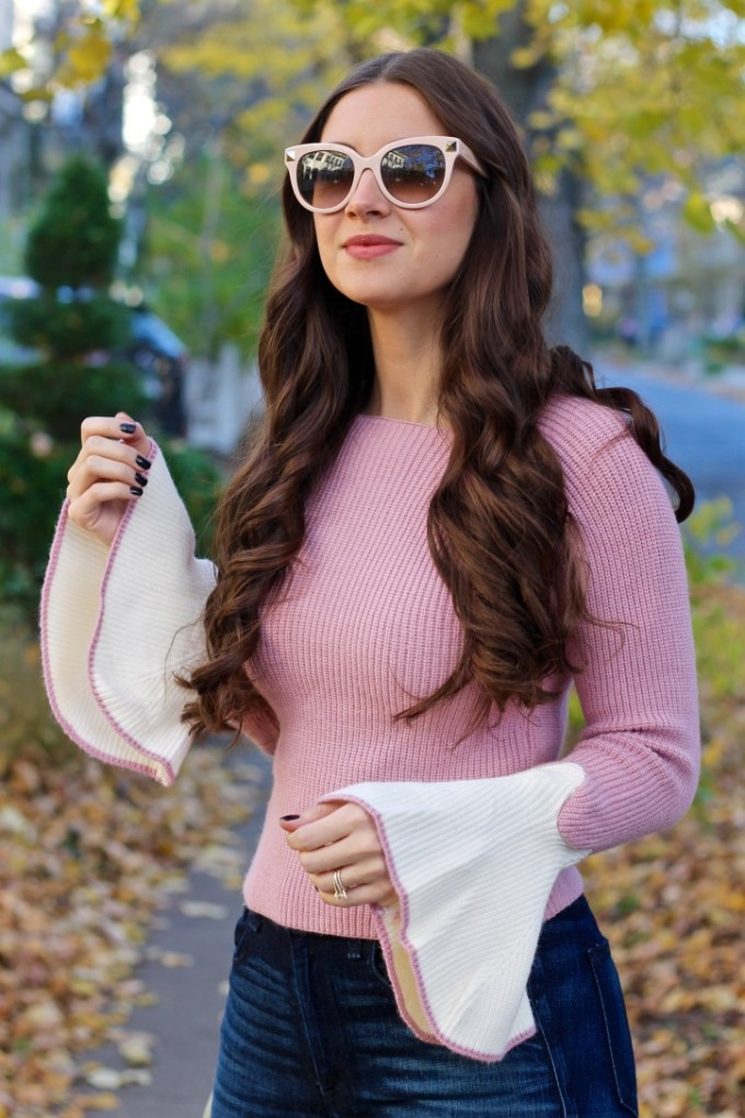Pink Contrast Bell Sleeve Sweater