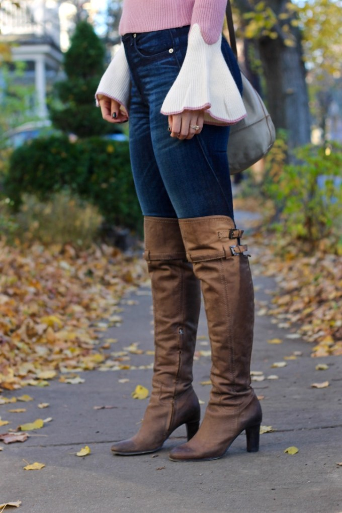 Taupe Leather OTK Boots