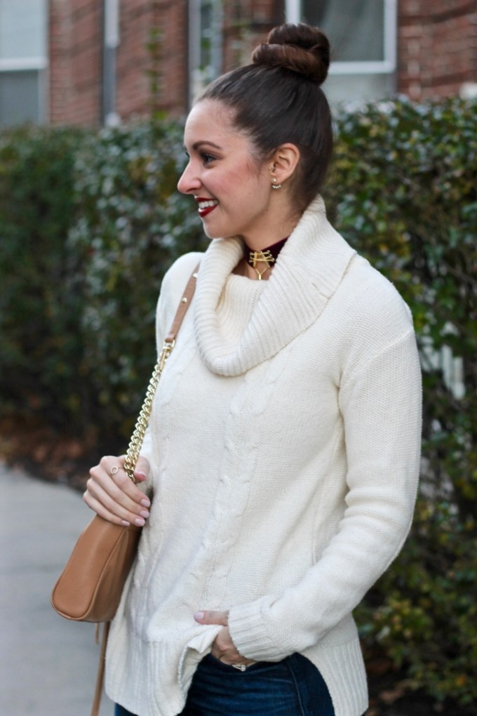 J.Crew Factory Cowl-neck ivory sweater, Aveda nourish-mint snap dragon red lipstick