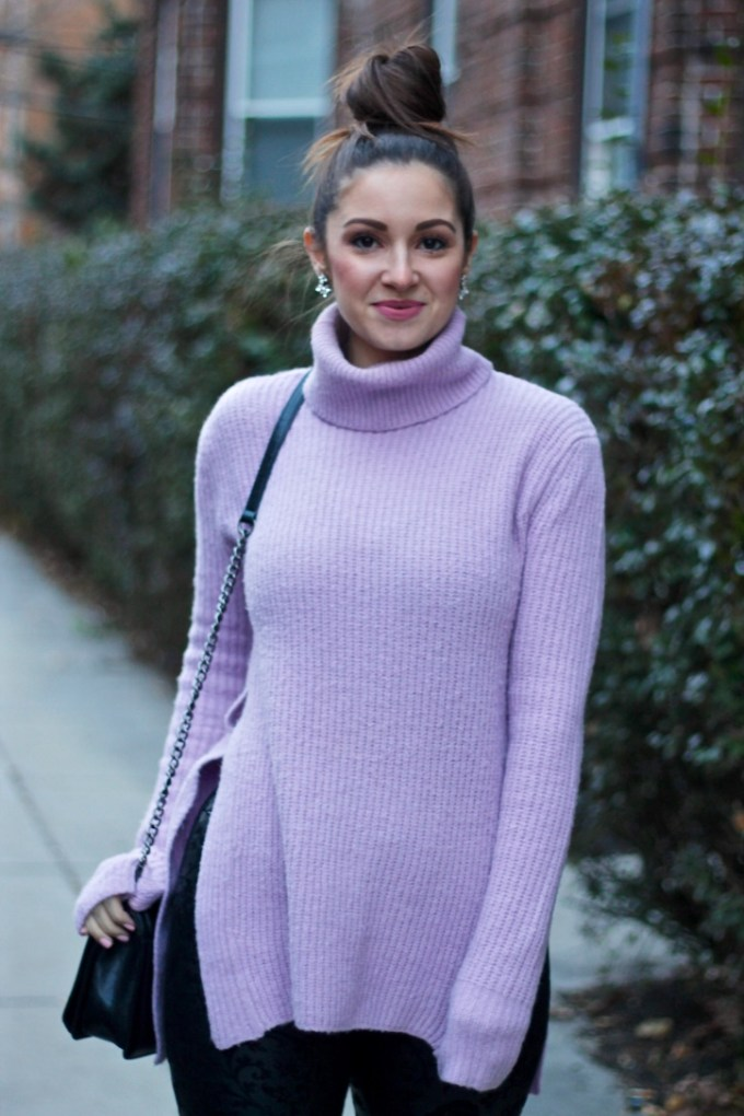 Asos lavender knit sweater, Koko K Kylie Lipkit, Boston fashion blog, winter style