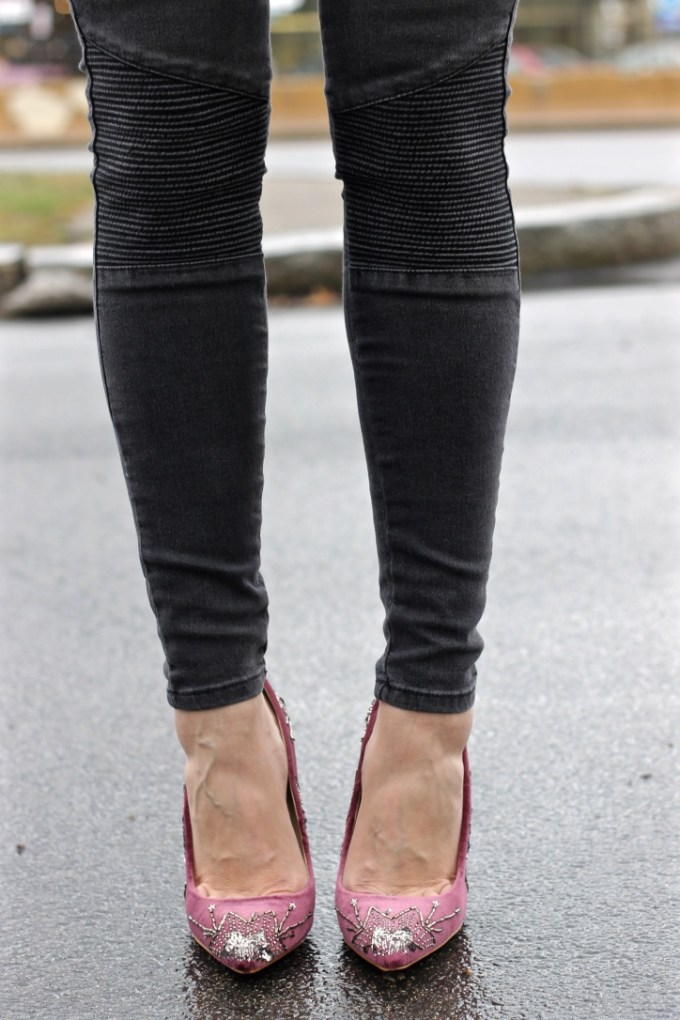 grey moto jeans, burgundy velvet sequined heels