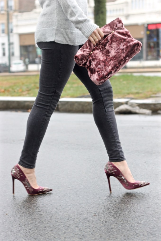 grey moto jeans, burgundy velvet sequined heels, crushed velvet bag