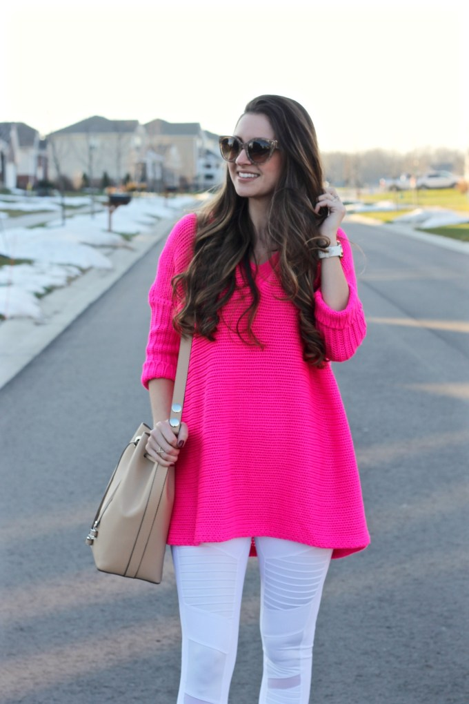 Noisy May Hot Pink Oversized Crochet Sweater, Alo Yoga White Moto Leggings