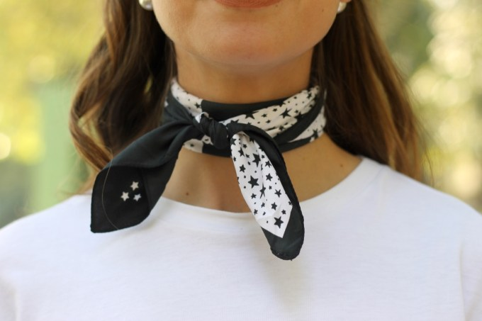 Zara Black & White Star and Moon Bandana Neckerchief