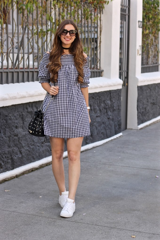 Off the Shoulder Gingham Dress, Black Velvet Choker, White Leather Adidas Sneakers