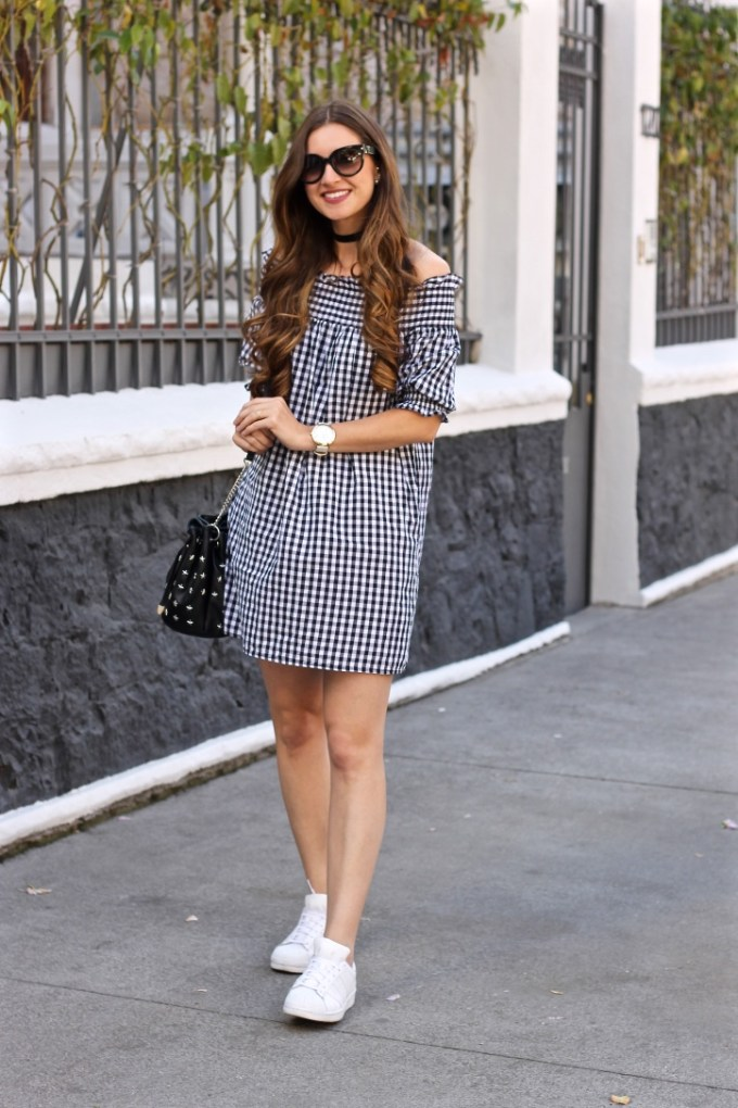 Off the Shoulder Gingham Dress, Black Velvet Choker