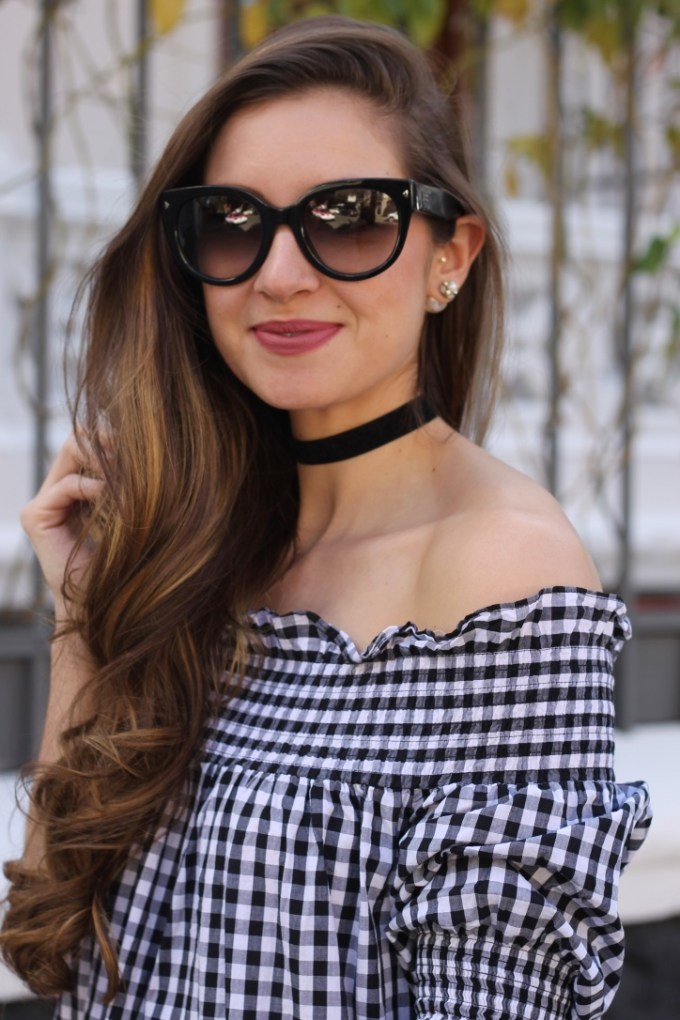 Off the Shoulder Gingham Dress, Poise K Kylie Lipkit