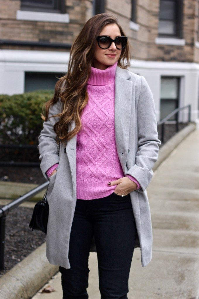 Pink, Grey & Back Winter Outfit