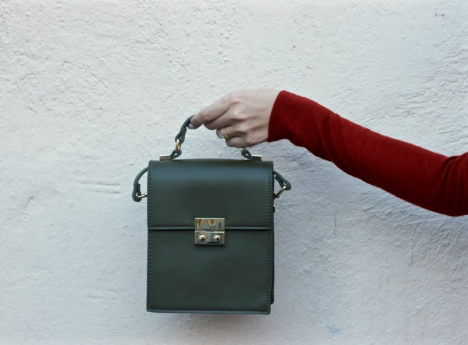 Zara Olive Green Leather Bag