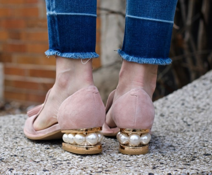 Jeffrey Campbell 'Civil' Pearly Heeled Beaded Tassel Loafer in Blush Pink