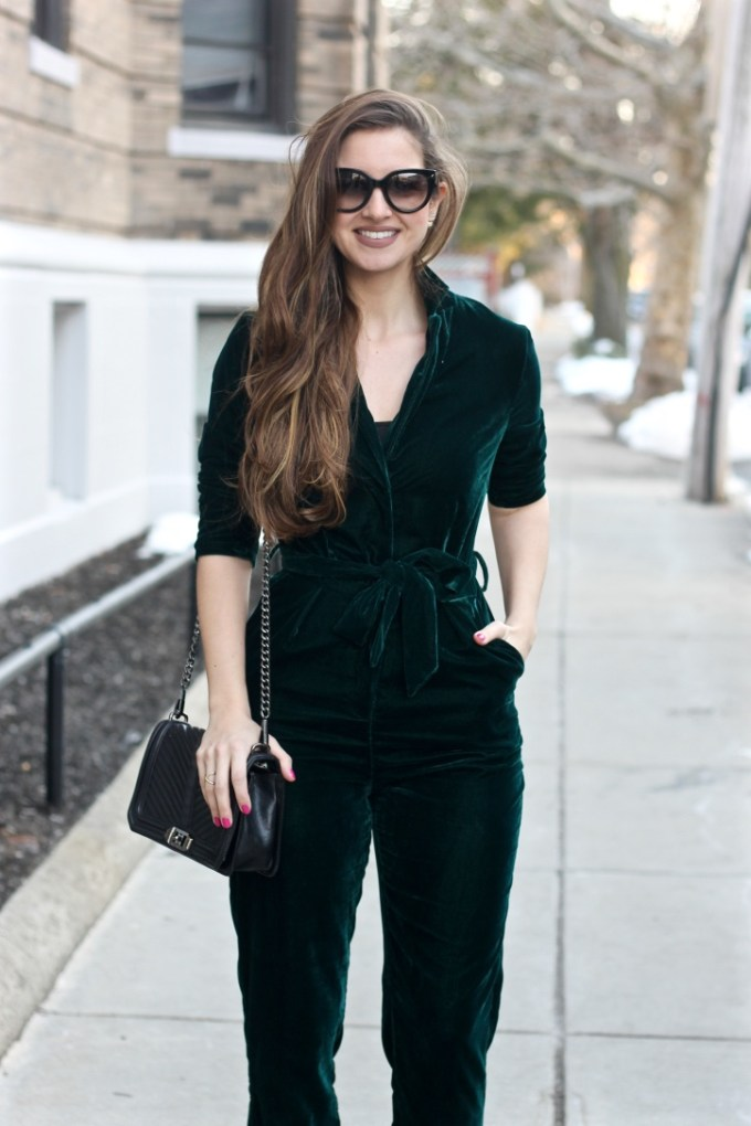 Asos New Look Pajama Style Velvet Emerald Green Jumpsuit