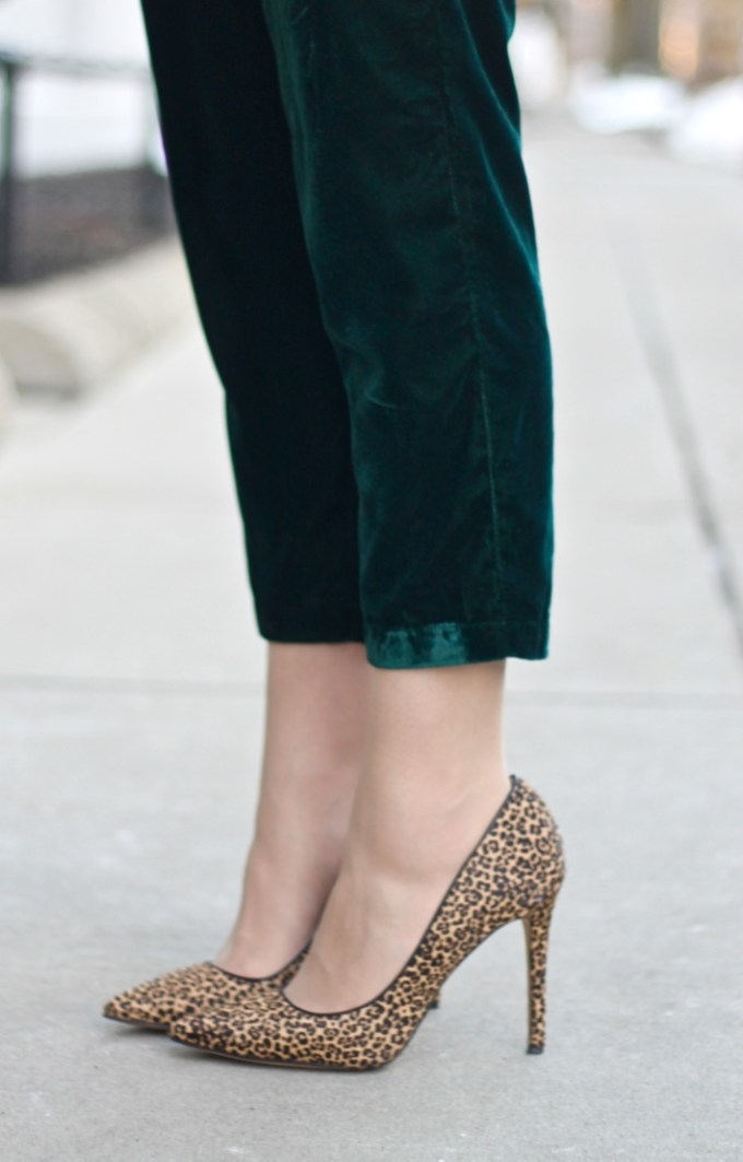 Asos New Look Pajama Style Velvet Emerald Green Jumpsuit, Nine West Abstract Leopard Pumps
