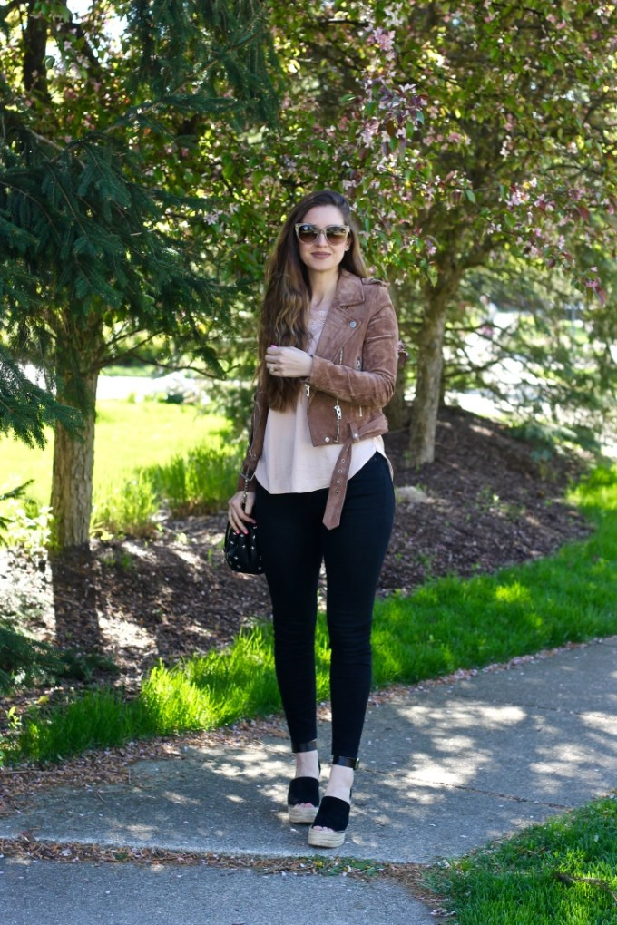 Mocha Suede Jacket and Peach Lace Camisole