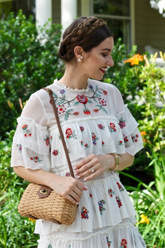 Zara Embroidered Mini Dress, Milkmaid Braids, Straw Purse