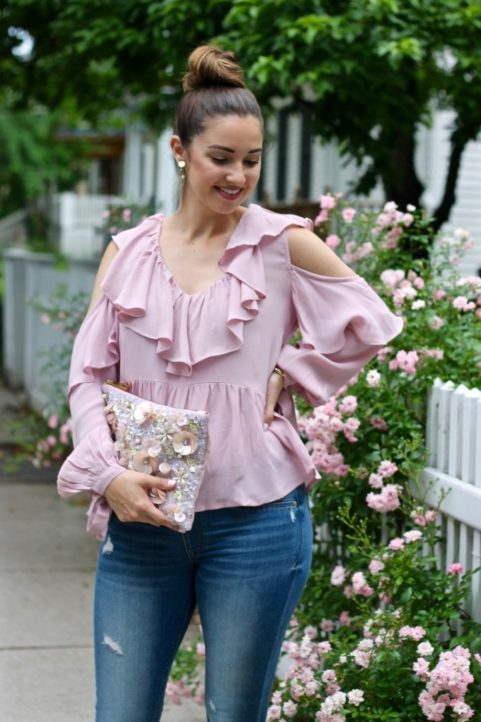 ASOS Cold Shoulder Blouse with V-Neck and Ruffles, True Decadence 3D Flower Clutch