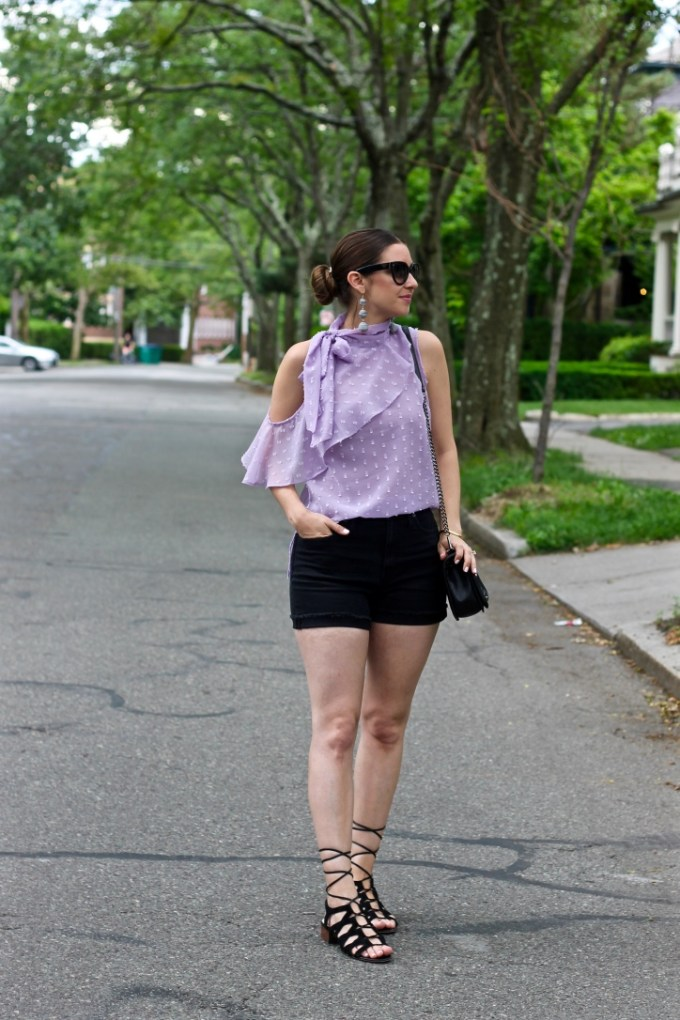 ASOS Lilac Ruffle Blouse with Scarf Detail in Dobby