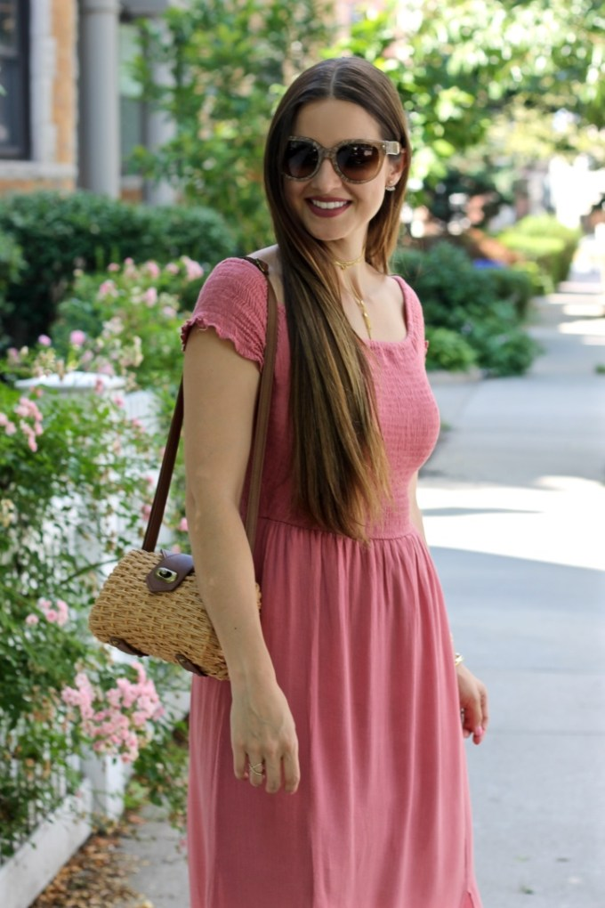 Rose Midi Summer Dress, Straw Bag