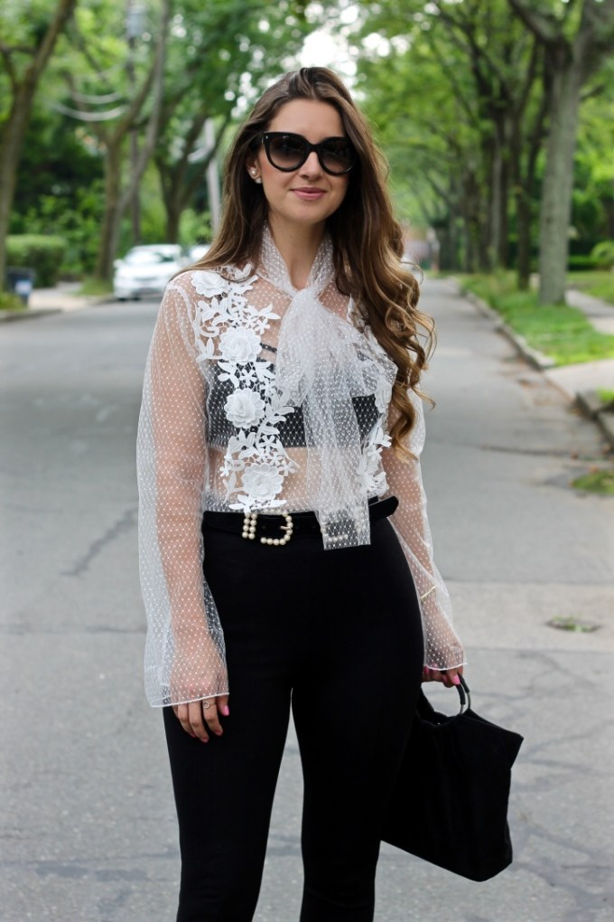 PrettyLittleThing Mesh Bow Top, Styling a Mesh Top, How to wear See-through Shirts