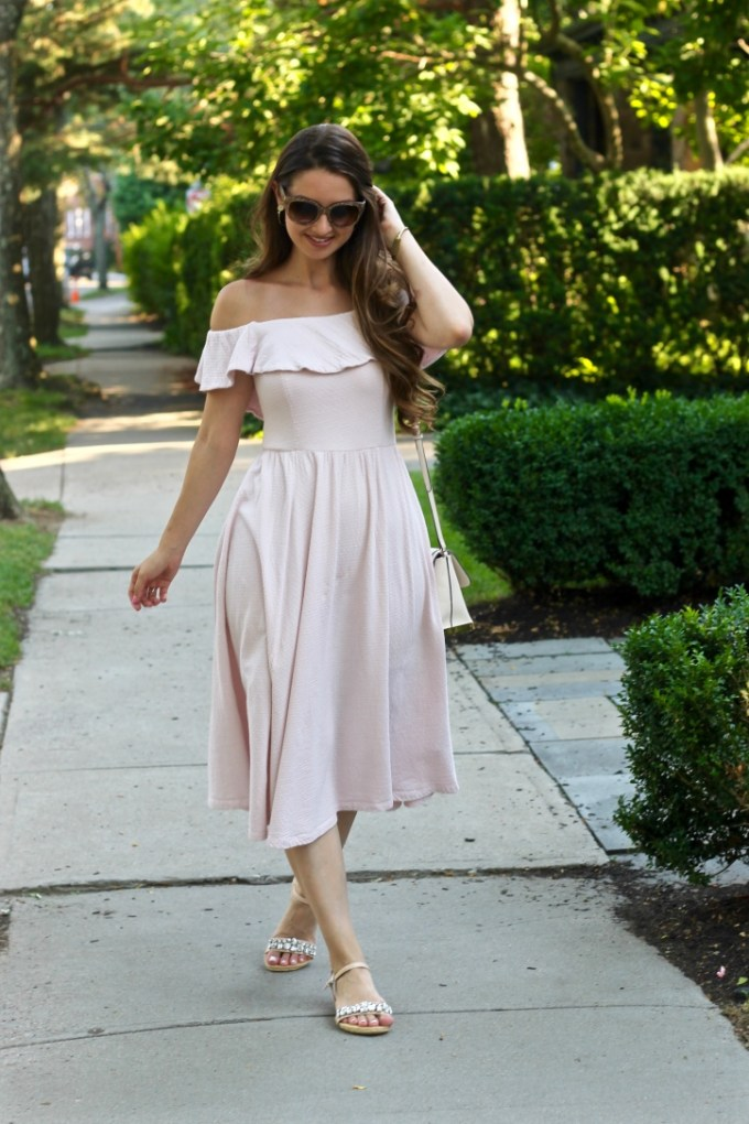 Blush Off-the-shoulder ruffled midi dress
