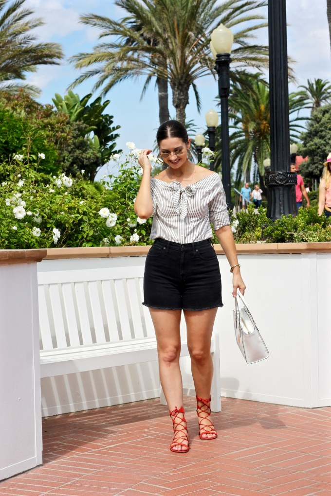 Roberi & Fraud dori sunglasses, H&M striped Off the shoulder blouse with bow, schutz scarlet lace-up erlina sandals