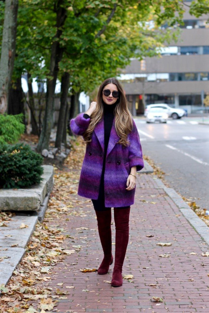 Shaggy Purple Ombre Coat, Burgundy OTK BootsShaggy Purple Ombre Coat, Burgundy OTK Boots