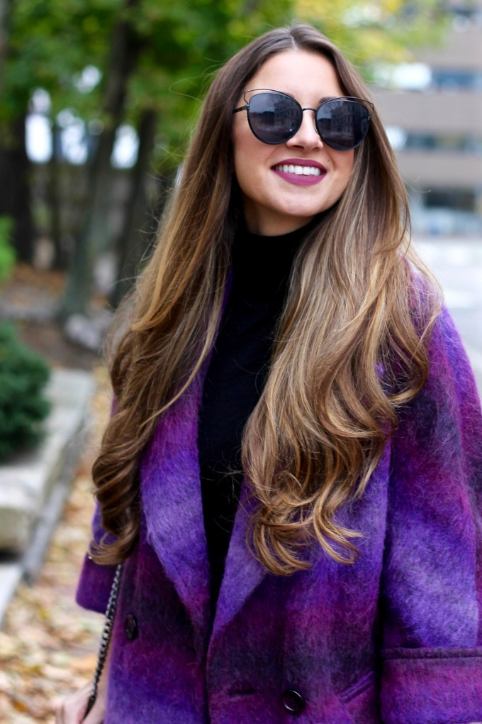 Shaggy Purple Ombre Coat, Burgundy OTK Boots
