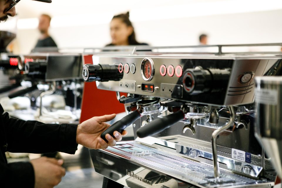 The La Marzocco KB90 features straight-in portafilters and is available with or without integrated scales.