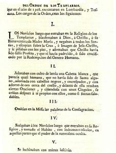Hechos que se obligó a confesar a los Caballeros del Orden del Temple con el fin de exterminarlos