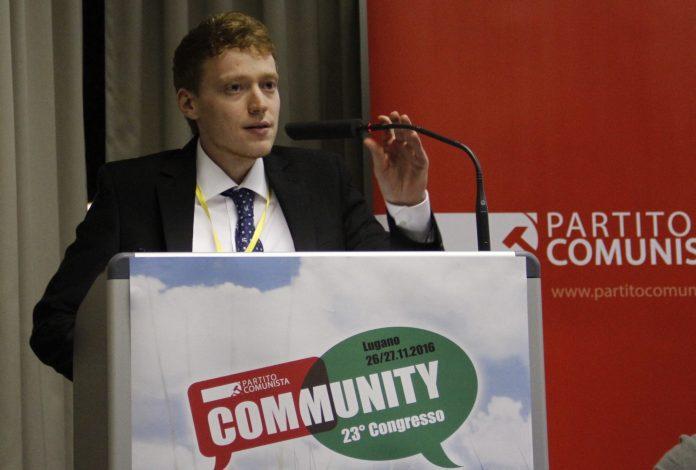 Alessando Lucchini interviene en el 23º Congreso del Partido Comunista (Suiza)
