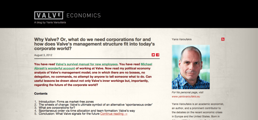 The official 'Valve Economics' blog run by Yanis Varoufakis