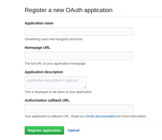 GitHub register OAuth application