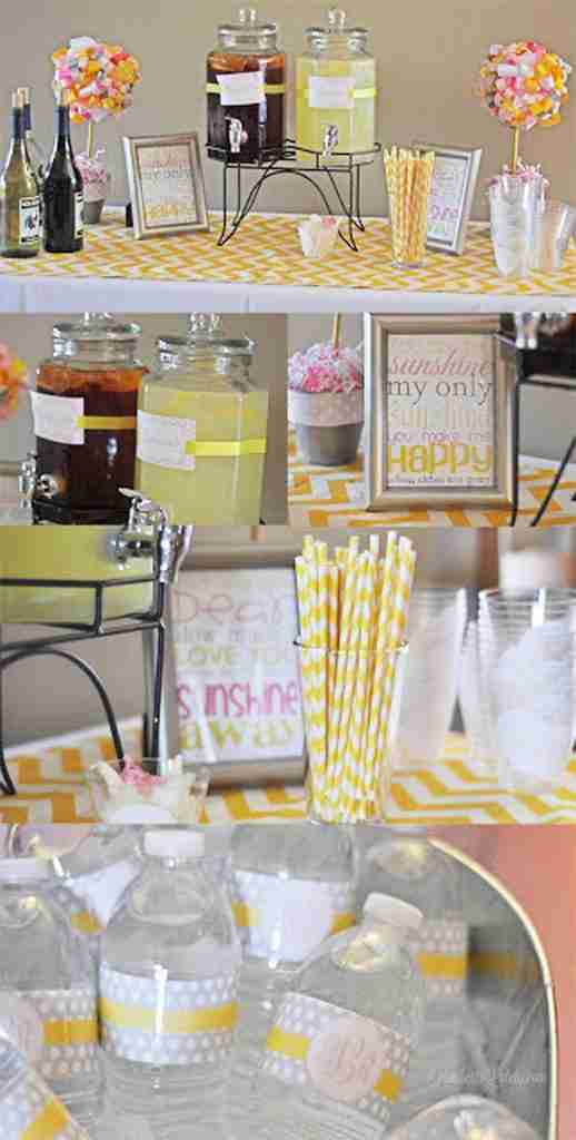 Super cute ideas for a You are My Sunshine first birthday for a girl - lots of yellow/pink/gray colors. Includes menu, cake ideas, decor, etc.