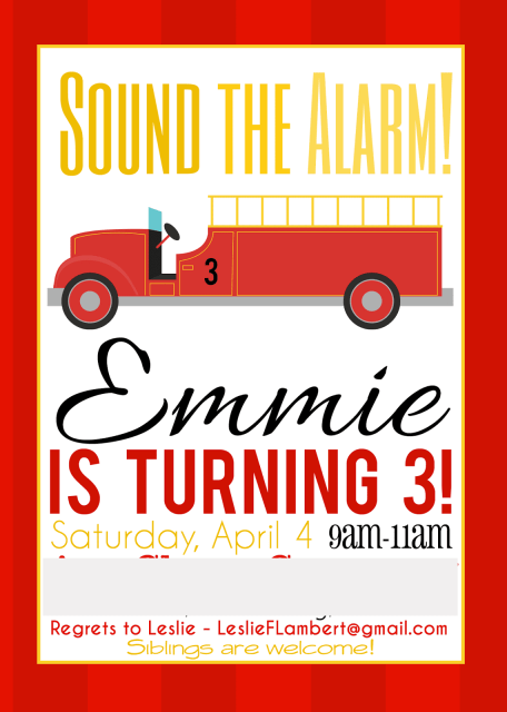 Invitation idea for fireman/firetruck birthday party...cute invites!